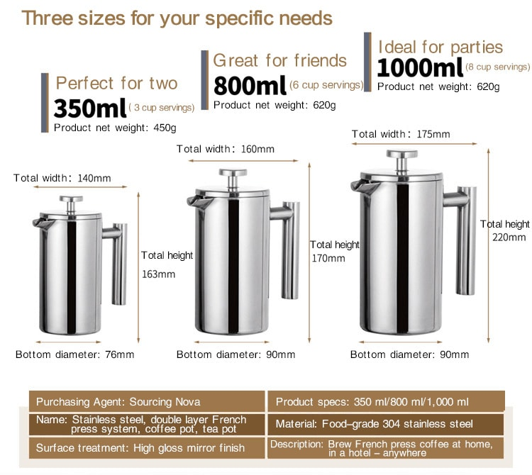 Sizes of French press coffee makers