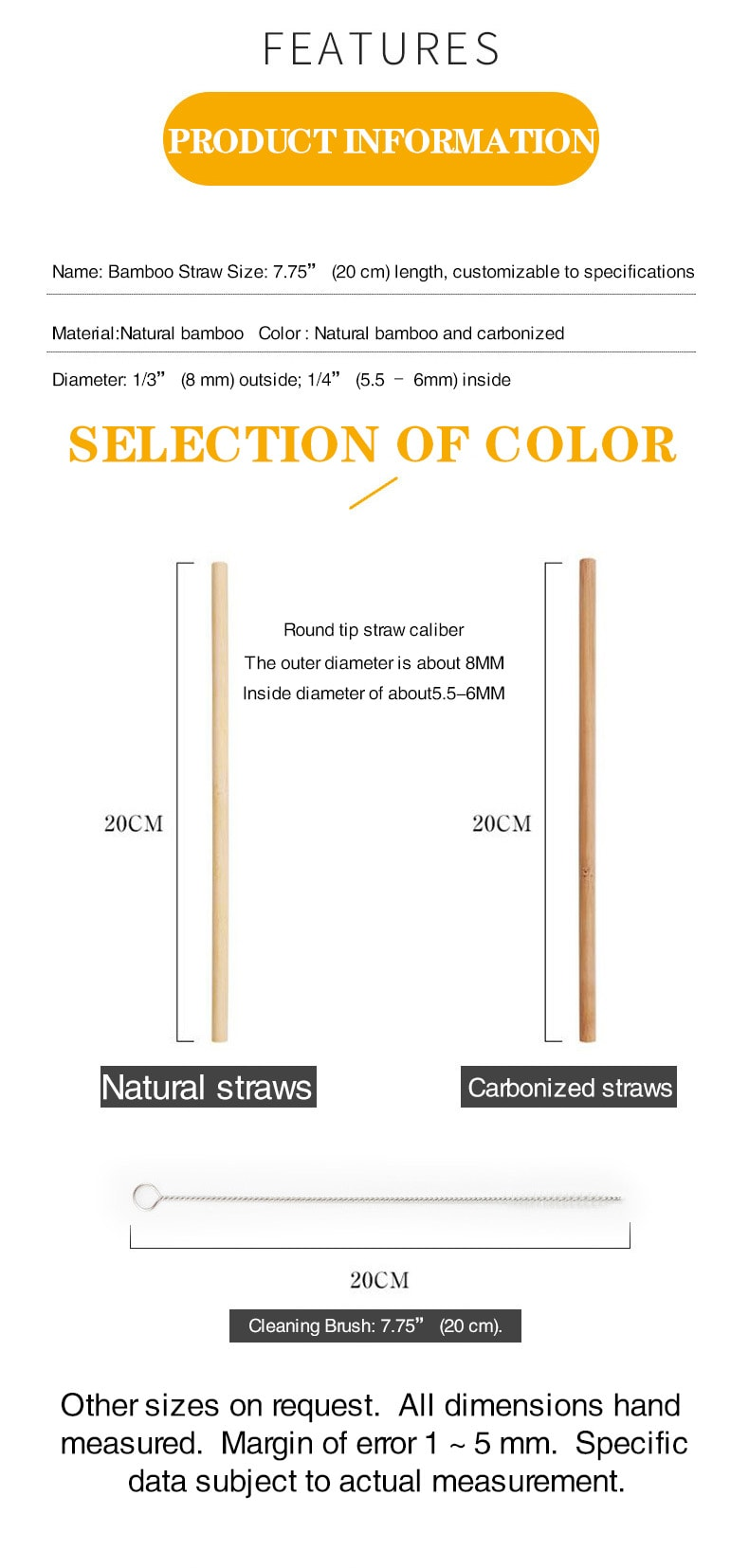 what are the sizes of bamboo drinking straws