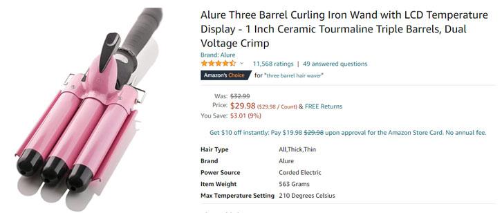 3 barrel curling iron amazon