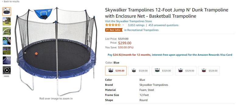 trampolines amazon